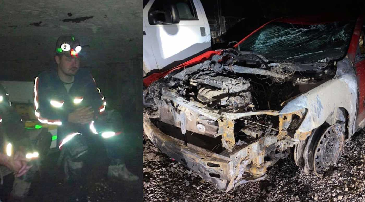 Coal Miner Plucks Woman Out of Her Car Moments Before it Went Up in Flames