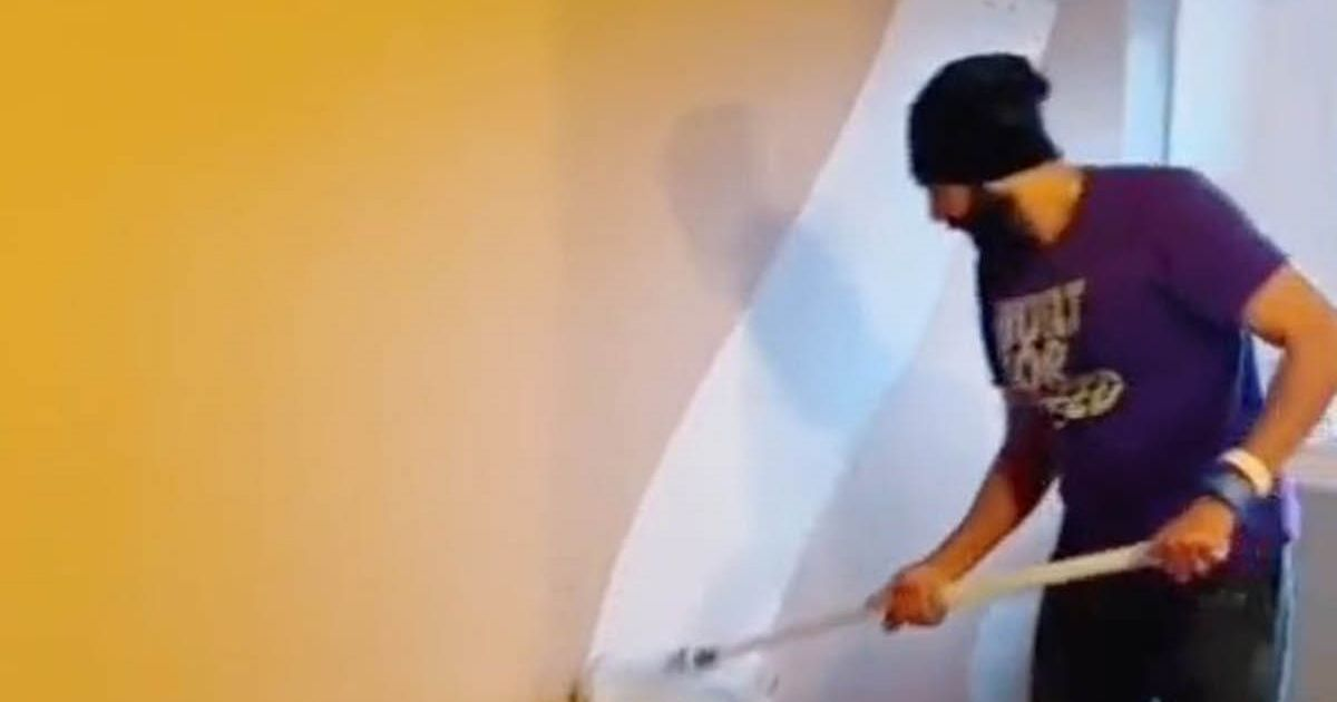 Man hailed DIY king after showing how he paints a whole wall in 30 seconds